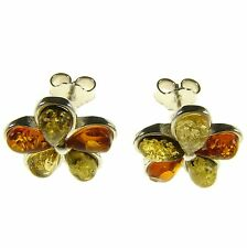 Baltic Amber Sterling Silver 925 Ladies Stud Flower Earrings Jewellery Jewelry