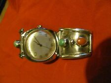 vintage WATCH MEN,s large Timex with western silver band new battery super RARE!