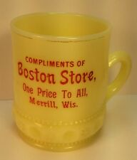 Advertising Boston Store EAPG Souvenir Custard Glass Merrill WI Wis Lincoln CO
