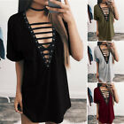 Women Casual V-Neck Shirt Short Sleeve Loose Tops Blouse Mini Dress Plus Size