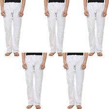 5 Pcs Lot Indian Yoga Mens Trousers Pajama Pants White 100% Cotton 42 IN Length