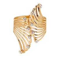 Fashion Women Rhinsetone Crystal Wing Open Cuff Wide Bangle Bracelet Jewelry