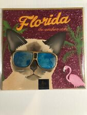 Siamese Cat Greeting / Specialty Card Blank Pink Sparkle Florida Sun Shine State