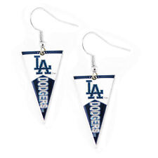 Sports Team Logo MLB Pennant Dangle Earring Set Los Angeles Dodgers
