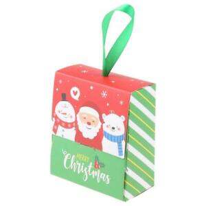 30Pcs Christmas Candy Wrap Gift Box with Handle Cartoon Santa Small Cookie Case