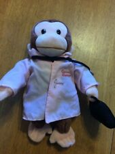 "Curious George Stuffed Animal Plush Monkey Doctor 12"" Breast Cancer Awareness"
