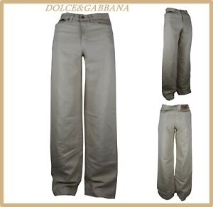 pantaloni jeans dolce gabbana da donna a vita alta palazzo zampa lino estivi 42