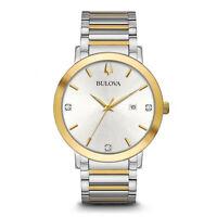 Bulova Men's 98D151 Futuro Quartz Silver Dial Two-Tone 42mm Band Watch