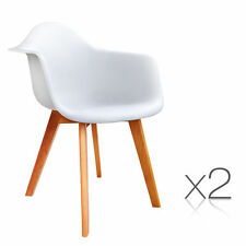 Set of 2 Replica Eames Eiffel DAW Dining Chairs Cafe Kitchen Armchair White