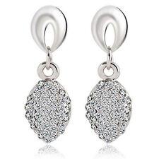 BRIDAL/Wedding Silver Diamanté/Crystal/CubicZirconia Pave Drop Earrings-UKSELLER