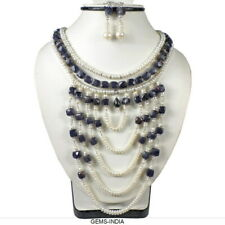 800 Ct Natural Freshwater Pearl & Iolite Beaded Handmade Queen Style Jewelry Set