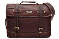 "15"" Leather Messenger Bag Brown Laptop Bag For Men Women"