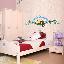 Cheeky Monkey Sweet Dream Removable Wall Stickers Decal Kids Baby Bedroom Decor