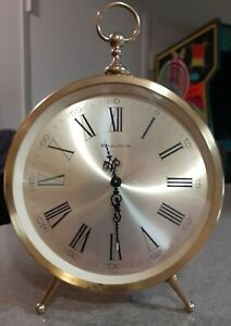 Vtg Bulova Peg Leg Mechanical Wind Up Alarm Clock Brass Works Function Properly