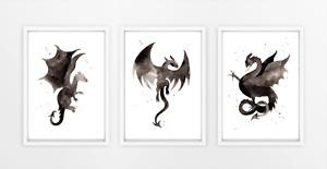 Watercolour Dragon Print Set - black and white dragon prints, boys bedroom art