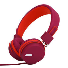 Yomuse Foldable On Ear Headphones w/ MIC for Kids Girls Women iPhone Tablets Red