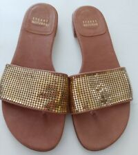 Stuart Weitzman Metallic Mailroom Goldtone Mesh Leather Sandals