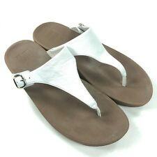FitFlop Womens 11 'The Skinny' Flip Flops Thong Sandals White Leather w Buckles