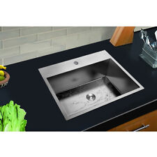 """New listing 25"""" Undermount Stainless Steel Square Corners Kitchen Sink Single Bowl"""