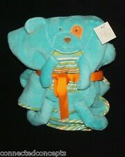 Maison Chic Turquoise Cuddly Knit Dog with Animal Front Plush Blanket NEW!