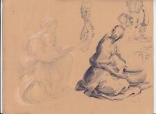 Gabriele Carelli, Studi di Figure, matita, acquarello, Maratta, Raffaello