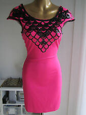 Lipsy Size 8 Pink Black Sequin Bardot Cap Sleeve ASOS Bodycon Top Dress