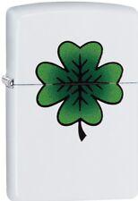 Zippo Lucky Four-Leaf Clover Design Crusade White Matte Windproof Lighter 29723