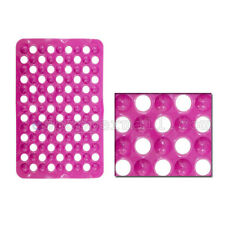 Solid Pink Non-Slip Bathtub Shower Mat with Drain Holes Suction Cups Base B-571