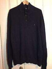 Polo Ralph Lauren Man Navy 100% Cotton Pullover Jumper Sweater Size XL