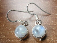 Small Round Moonstone 925 Sterling Silver Dangle Earrings