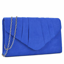 Women Blue Velvety Evening Clutch Removable Chain Strap Wallet Purse Handbag