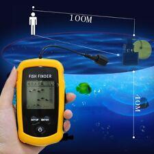Hot 100M LCD Fish Finder Alarm Sonar Depth Sensor Portable Fishfinder Transducer