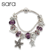 Sara Marine Charm Bracelet Silver Plated European Glass Beads - Purple