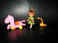 Rare Liddle Kiddles Heather Hiddlehorse Doll & Little Pink Horse Skediddles Pony