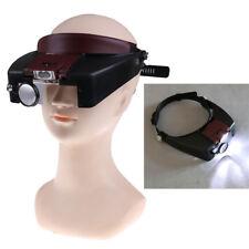 10X Headband Magnifying Glass Eye Repair Tool Magnifier LED Light Glasses Loup@M