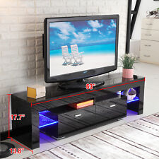 High Gloss TV Stand Unit Cabinet Console Furniture w/LED Shelves 2 Drawers Black