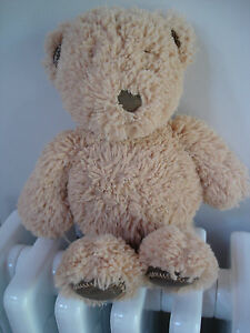"""MOTHERCARE BROWN TEDDY BEAR SOFT TOY APPROX 14"""" DARK BROWN SUEDE FEET MC271"""