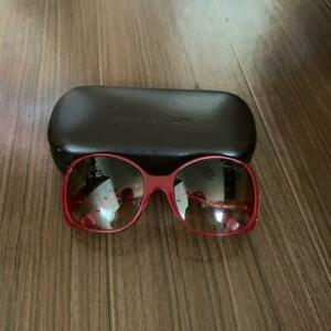 LOUIS VUITTON Women's Sunglasses Red Frame Brown Gradient Lenses USED