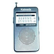Kaimeda SR-201 AM FM 2 Bands Portable Pocket Size Radio w build in speaker Grey