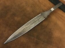 Handmade Damascus Steel Blank Blade-Double Edge-Dagger-Knife-Heat Treted -B95