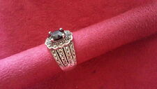 Beautiful Purple CZ Flower Marcasite Ring Sterling Silver *Size 7 *C325