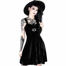 Restyle - Triple Déesse - Noir Robe Velours / Gothique, Occulte, Symboles, Yeux