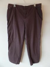 Erika Woman Womens 24W Plus Brown Pants Cotton Spandex Stretch Pull On GUC