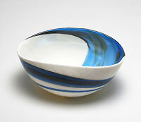 "HOME DECOR - ""AEGEAN SEA"" MURANO GLASS BOWL - IVORY / BLUE SWIRL - 7"" X 3.5"""