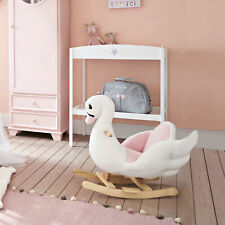 Plush Kids Ride On Rocking Horse Swan Style Toy, White and Pink