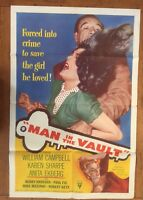 "Man in the Vault Original US One Sheet Movie Poster 1956 Vintage 27x41"""