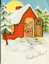 Vintage American Greetings Christmas Card: 3 Bears in a Cabin. - Cut Out