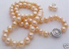 """Natural 7-8mm pink akoya cultured pearl necklace earring 18"""""""