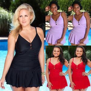 Plus Womens Monokini One Piece Bikini Tummy Control Beach Mini Dress Swimsuit