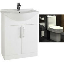 Pure White 650mm Vanity Unit With Designer Short Projection Toilet
